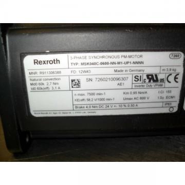 Rexroth msk04c 0600 NN m1 up1 NNNN-Permanent/indelible Magnet Servo Moto