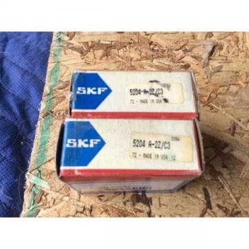 2-SKF Bearings #5204 A 2Z/C3, 30day warranty, free shipping lower 48!